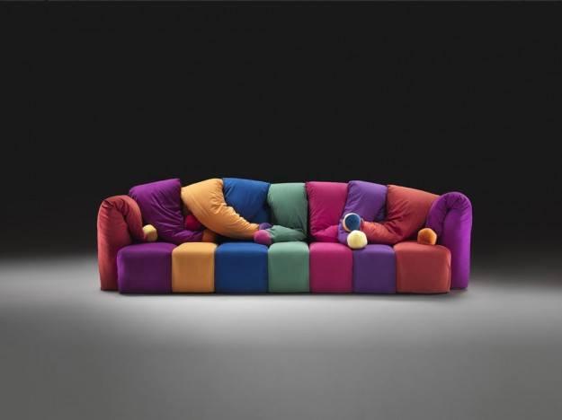 Divano a cubotti modulari multicolor